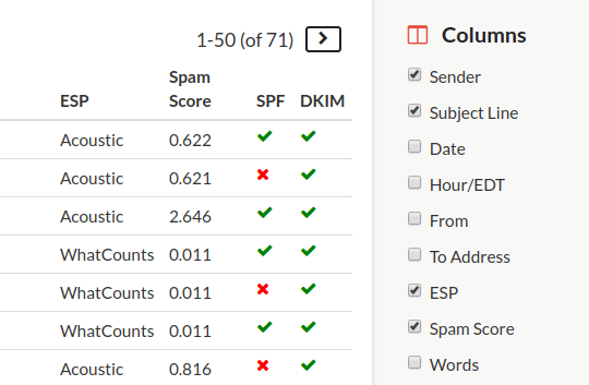 screenshot of columns feature within SendView Inbox