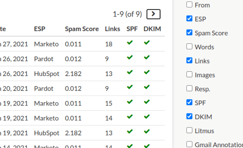 screenshot of columns feature within SendView competitor tracking Inbox