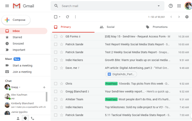 screenshot of typical Gmail inbox
